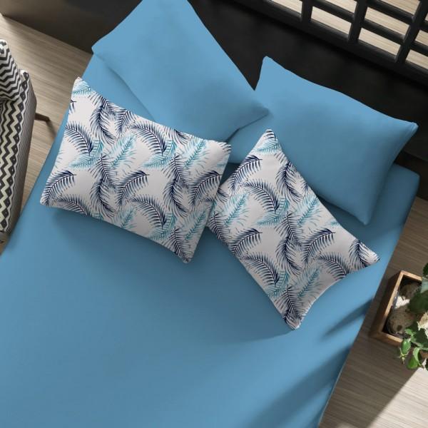 jogo de cama palmeiras azul